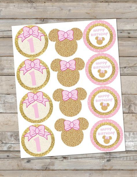 Pink And Gold Minnie Mouse Cupcake Toppers Birthday Party Gold Glitter Party Pink And Gold C Minnie Mouse Pink Minnie Mouse Birthday Party Minnie Mouse Party