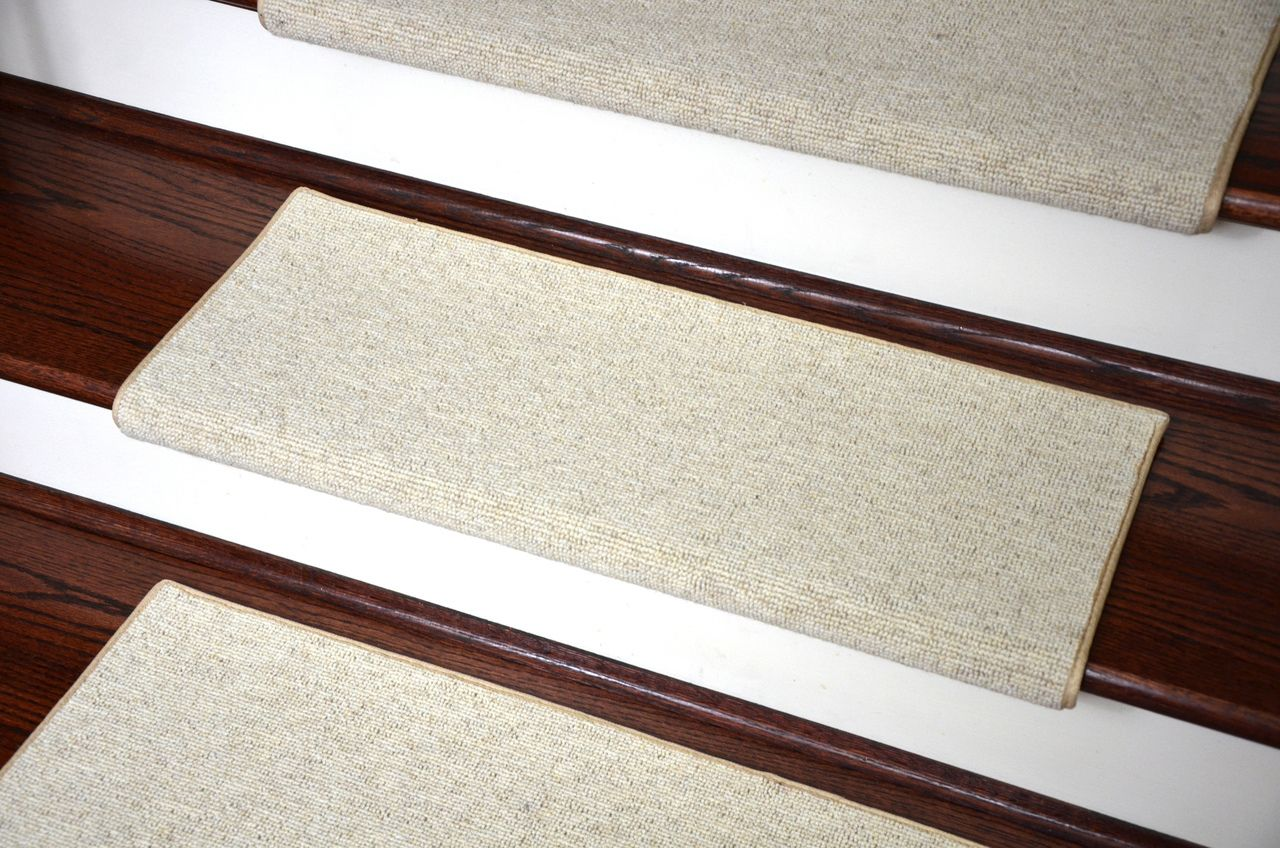 Dean Premium Pet Friendly Tape And Adhesive Free Non Slip Bullnose Wool  Carpet Stair Treads   Shetland Ivory   Dean Stair Treads