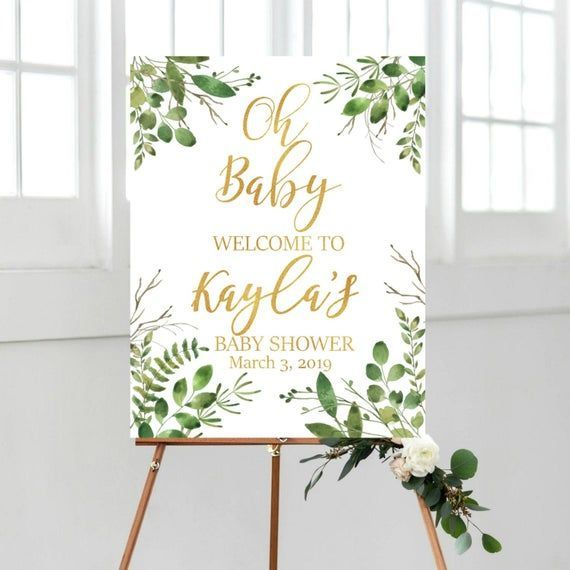 Greenery Oh Baby Welcome Sign, Baby Shower Welcome Sign, DIGITAL Green and Gold Welcome Baby Shower Sign, Printable Eucalyptus Baby Shower - -