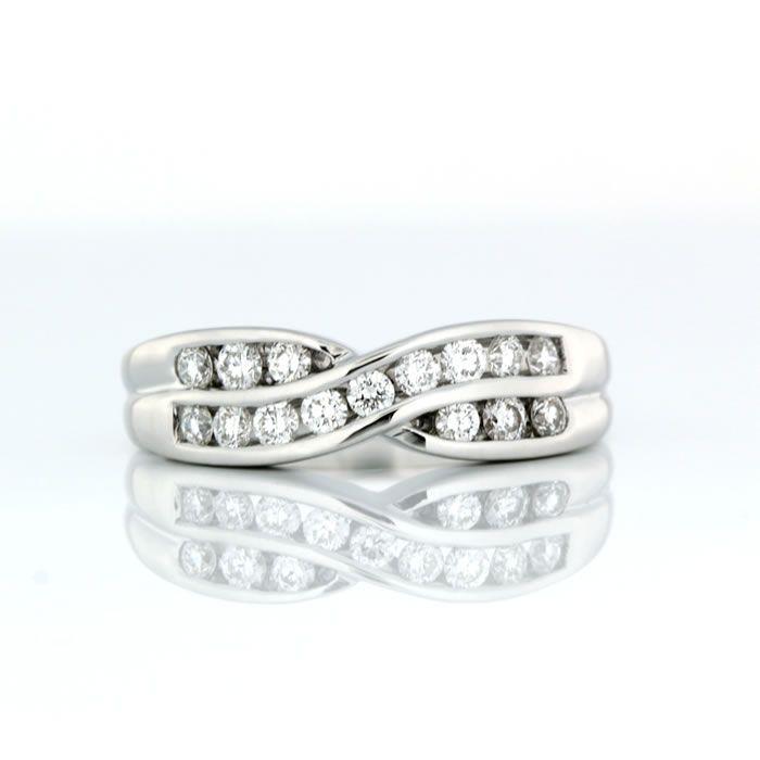 Cross Over Channel Set Ring 18ct White Gold Cross Over Channel Set Wedding Ring Product Reference 06000189 #love #diamond #weddingring #diamondsinternational #engaged #wedding