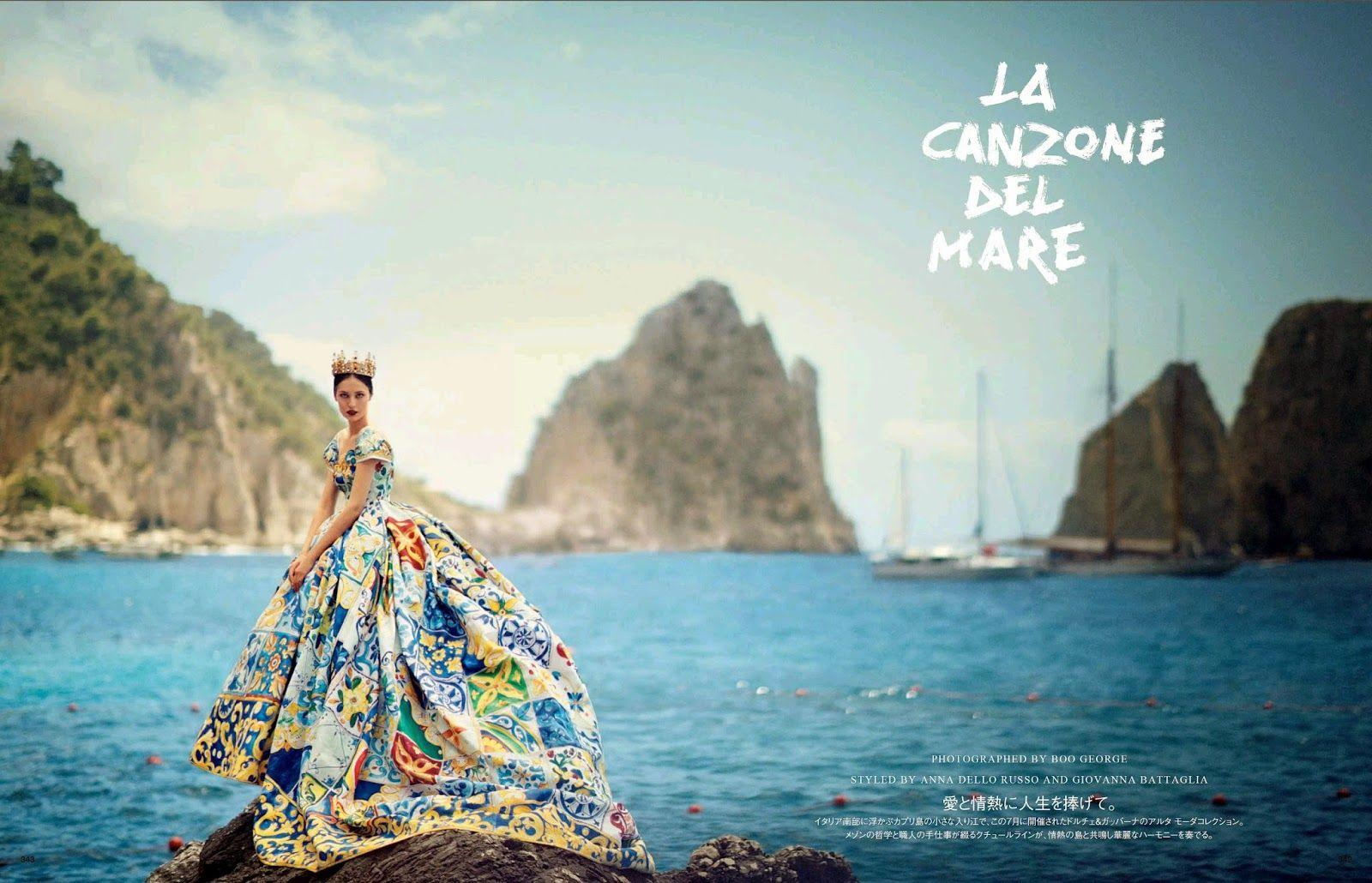 """""""La Canzone Del Mare"""" Dolce&Gabbana Alta Moda Fall 2014, Vogue Japan October 2014 by Boo George"""