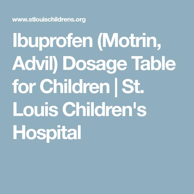 Ibuprofen (Motrin, Advil) Dosage Table For Children
