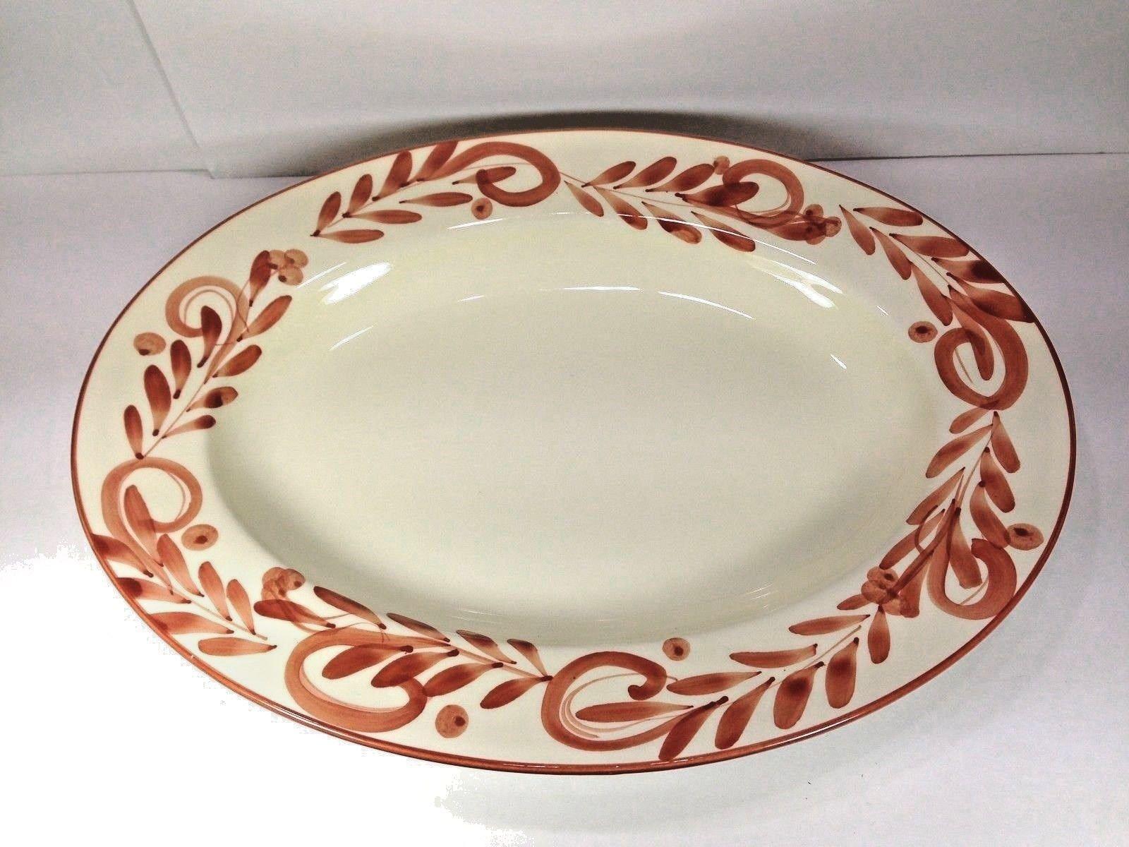 Bizzirri Italian Large Hand Painted Oval Platter / Bowl 18 1/2\  X 14 & Bizzirri Italian Large Hand Painted Oval Platter / Bowl 18 1/2\