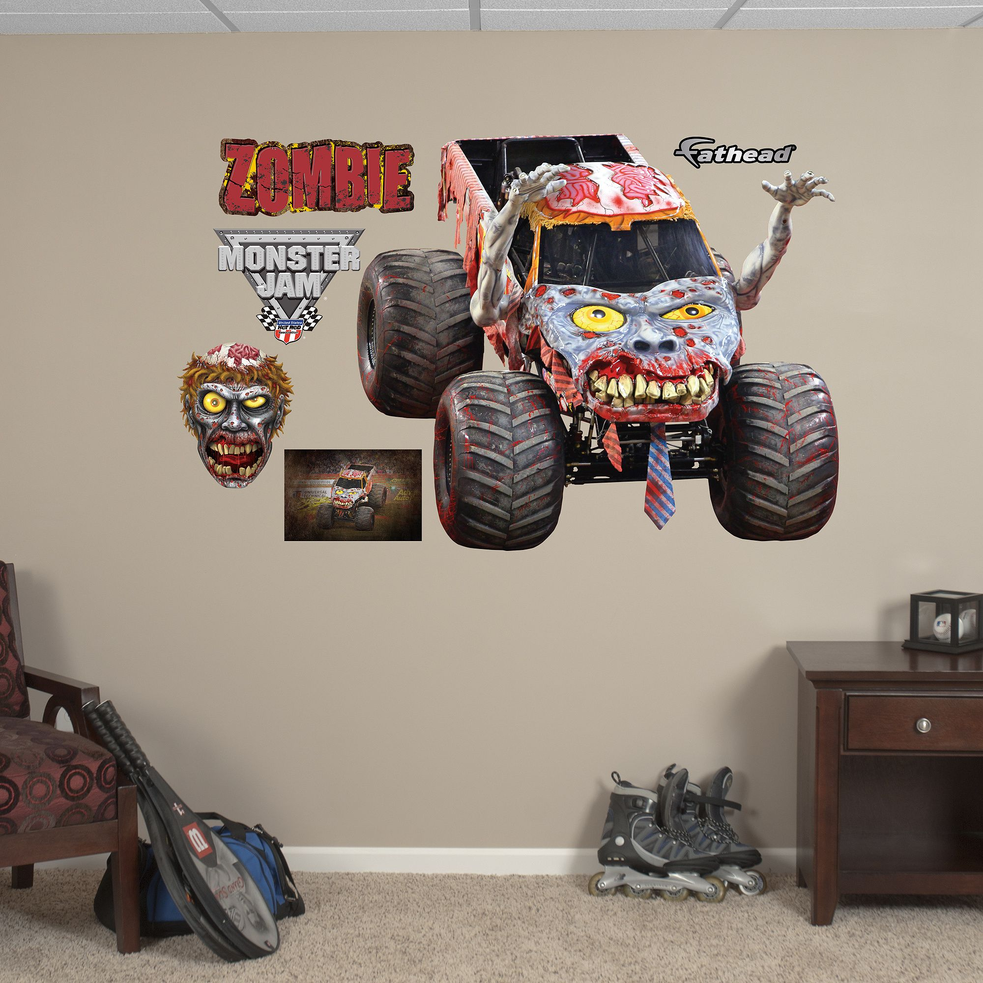 Zombie Huge Officially Licensed Monster Jam Removable Wall Decal With Images Monster Truck Decor Monster Truck Room Decor Wall Decals