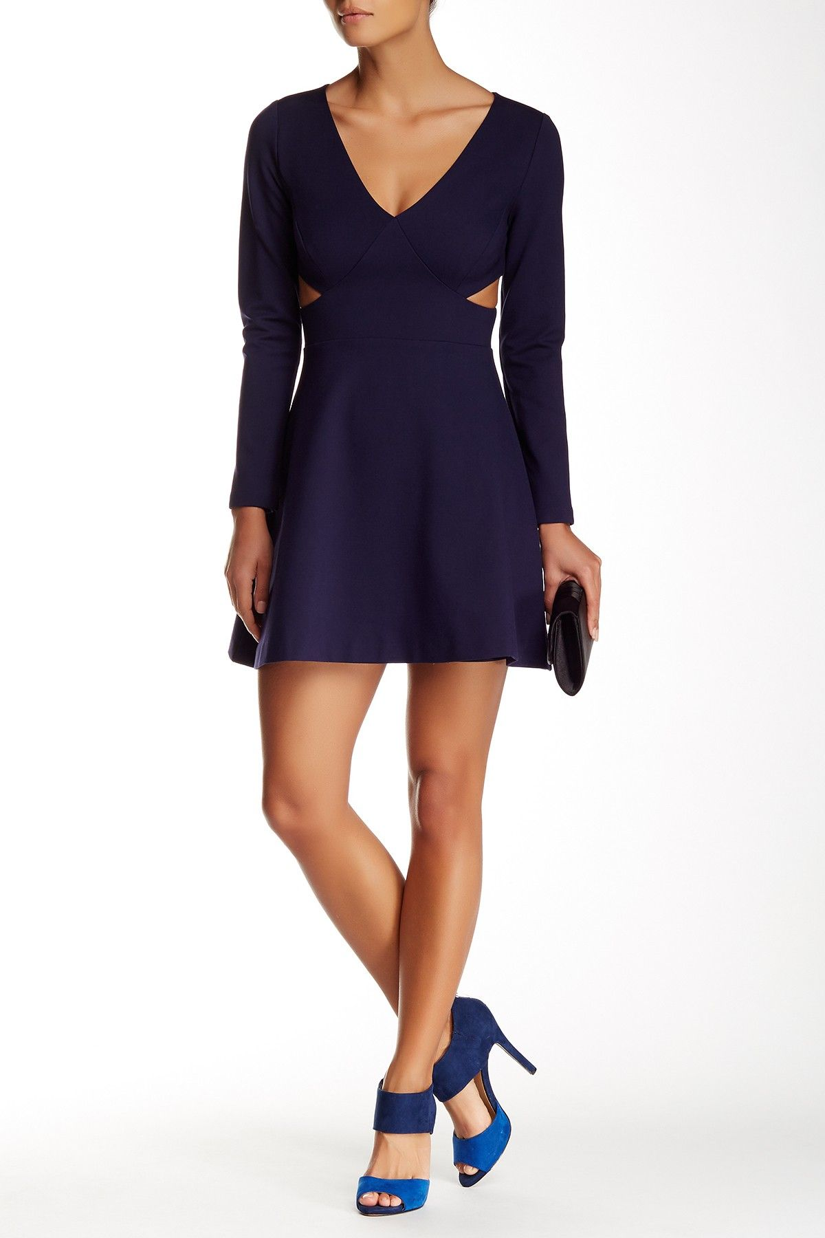 Long sleeve side cutout mini dress shops dresses and products