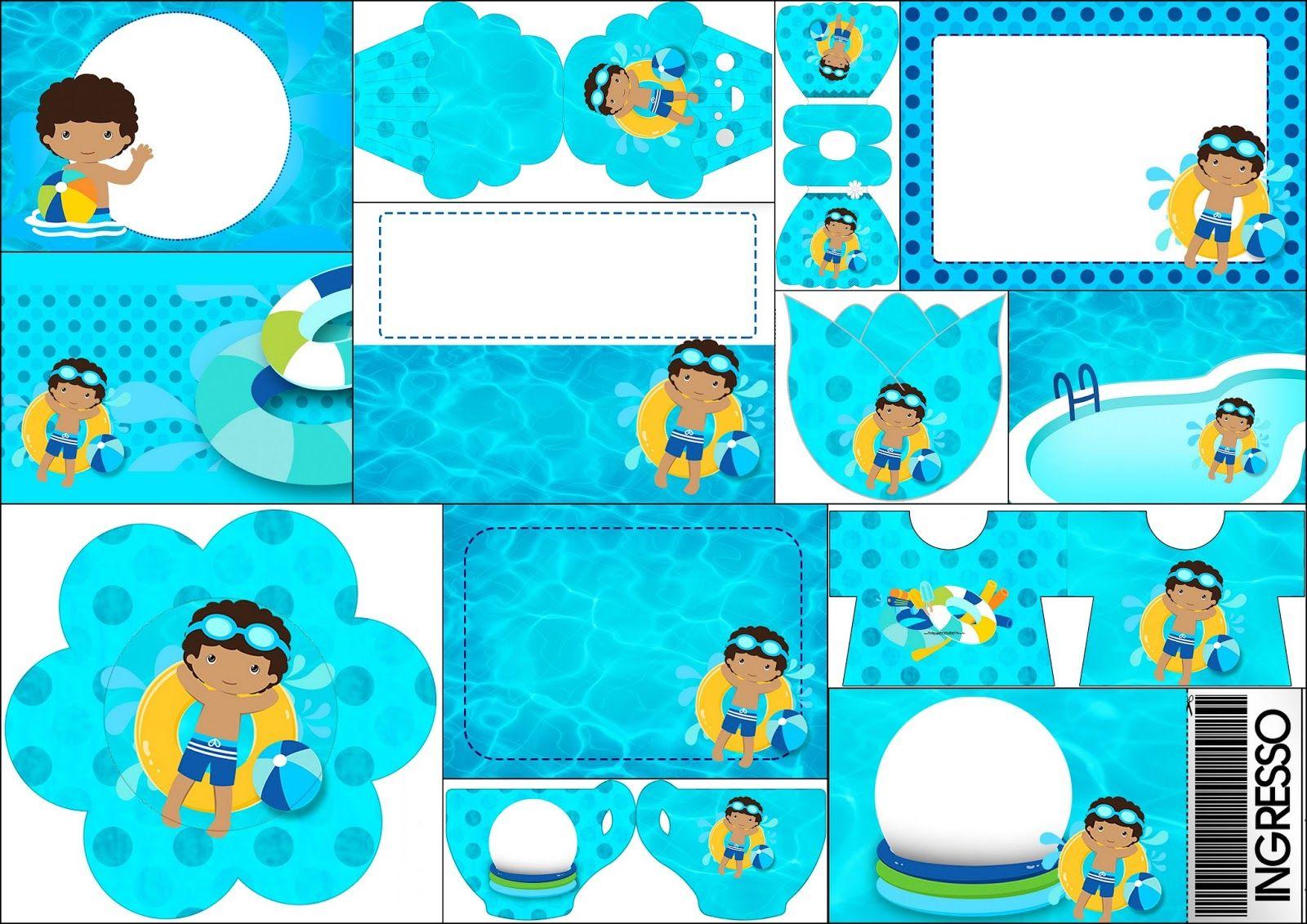 Fiesta en la piscina ni o moreno invitaciones para for Ideas para cumpleanos en piscina