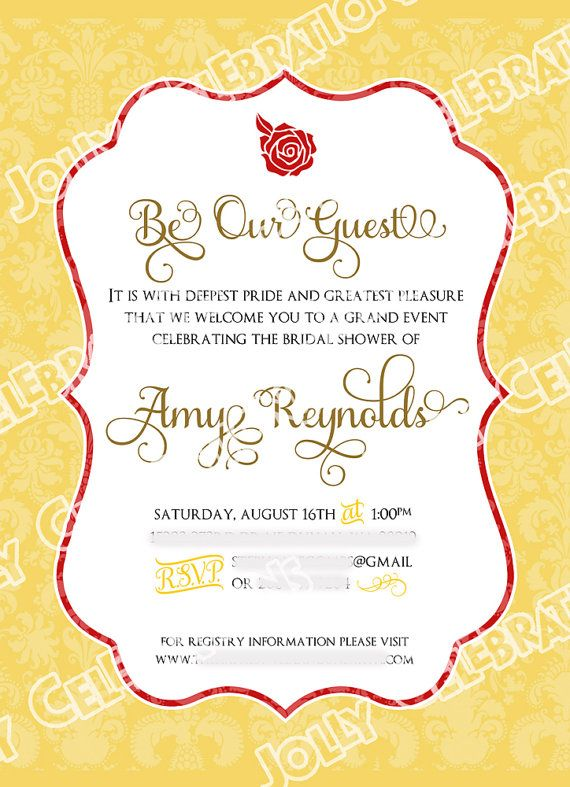 belle or beauty and the beast bridal shower invitation party beauty