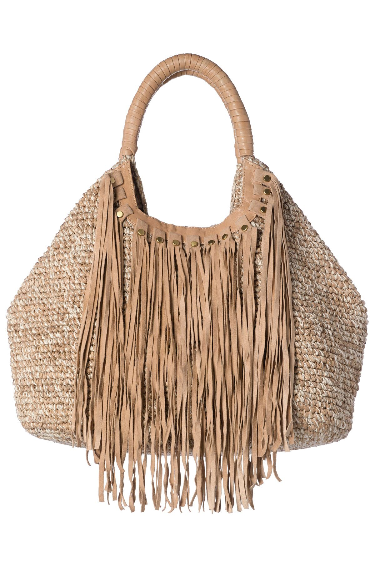 a6121e7e708 Straw bag with leather fringe detail.