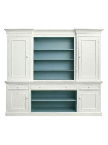 The Hampton's Painted Furniture, Bridgehampton Buffet and Hutch, Standard Wood Knobs, White with Robin's Egg Blue