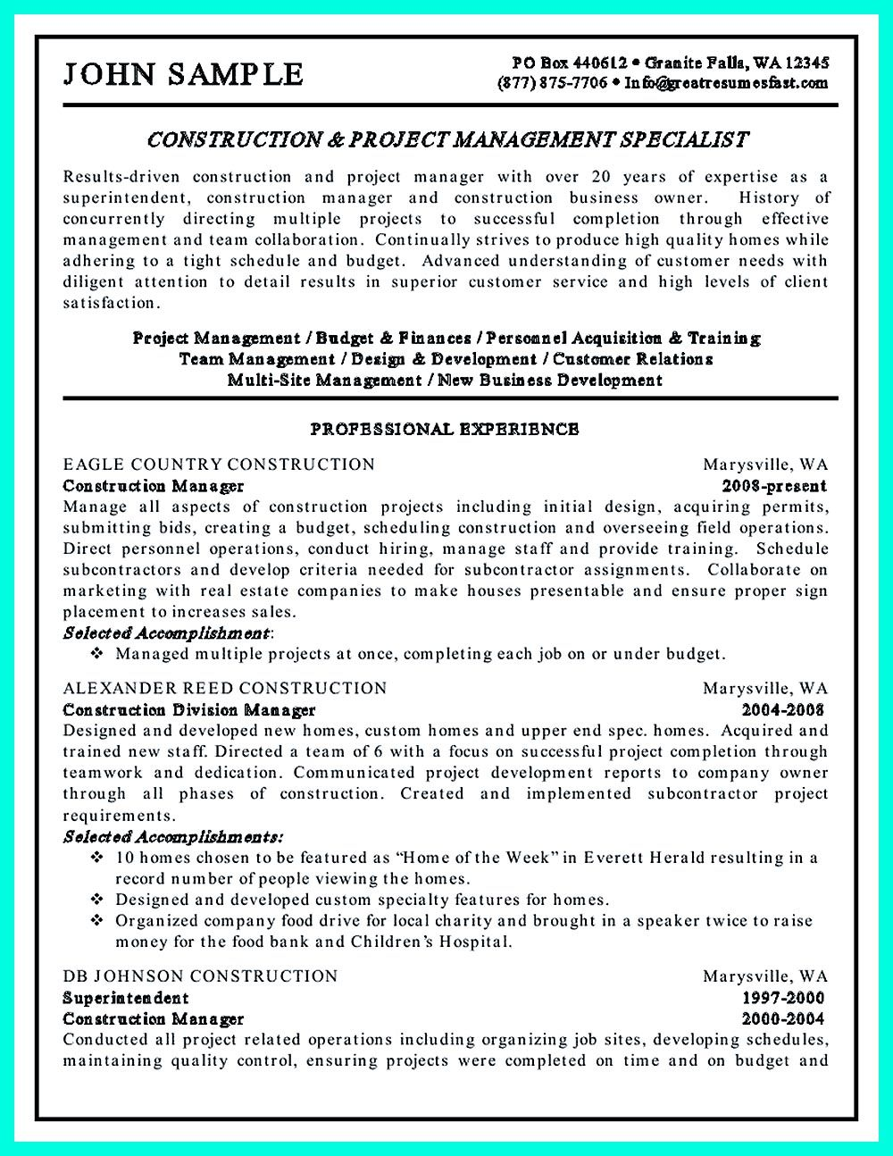 Construction Project Manager Resume For Experienced One Must Be Made With  Professional Profile, Education, · Job DescriptionResume ...