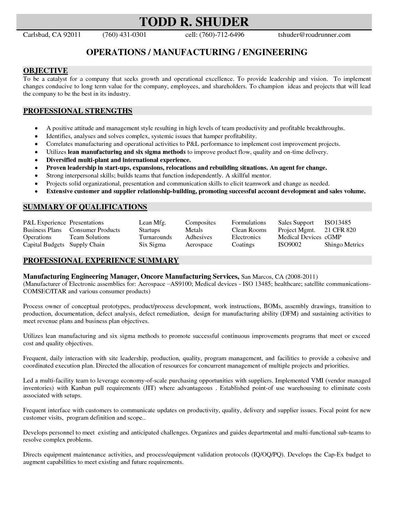 Manufacturing Engineer Resume Job Resume Samples Job Resume Samples Engineering Resume Resume Writing Samples