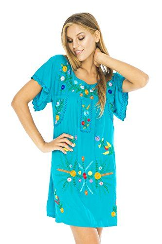 1fdea001fb296 Back From Bali easy summer short dress in Mexico style embroidery. So  comfortable and A-line design flatters all