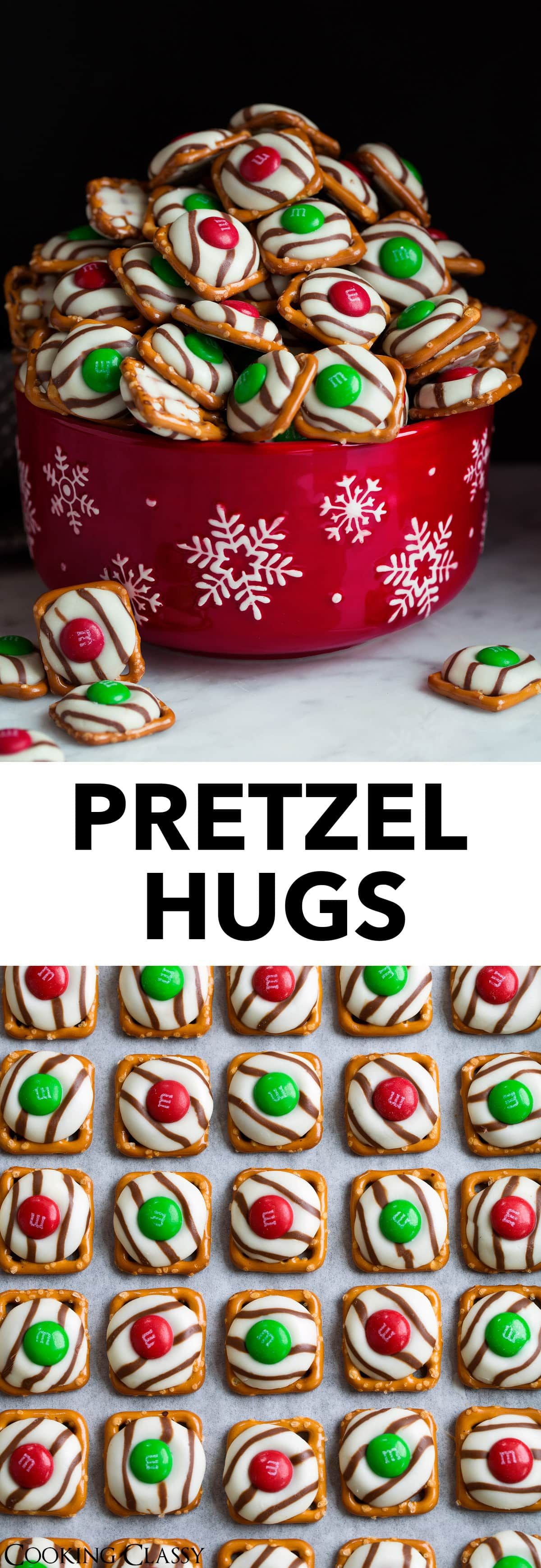 Pretzel M&M Hugs - these are the perfect treats for Christmas gifts or parties. They only need 3 ingredients, they take no time at all to make, they look so pretty and festive and of course they're incredibly delicious!  chocolatepretzels  christmas  christmastreat  partyideas  giftideas via @cookingclassy