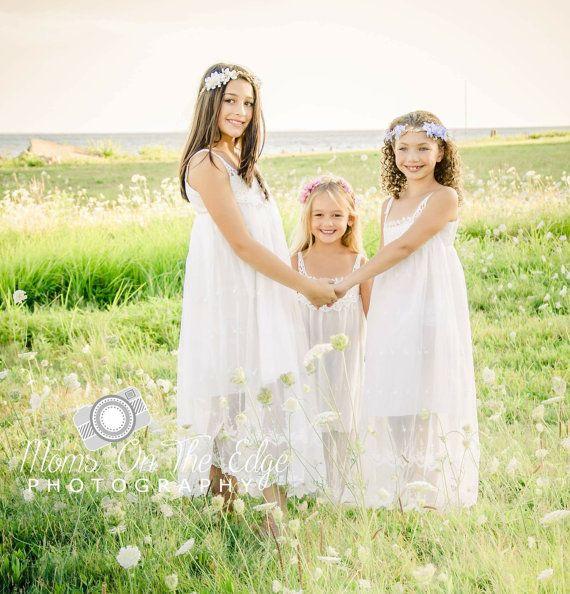 Beach flower girl dress, junior bridesmaid dress, rustic flower girl ...