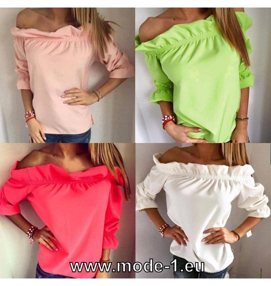 Schulterfreie Damen Bluse in Grün Weiß Rosa Pink