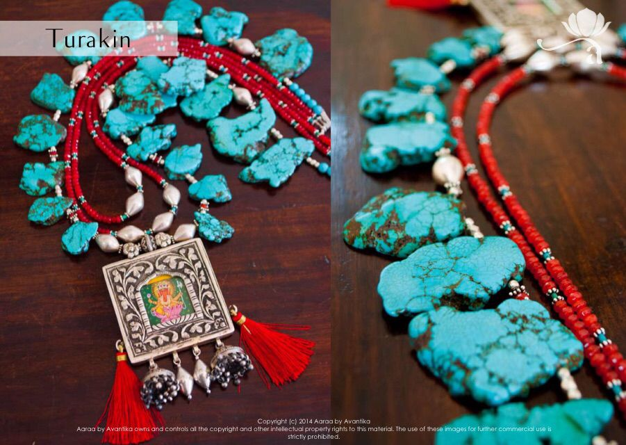 Turakin  Length: Minimum 48 cm Weight: approx. 290 gm Material: 92.5 sterling silver miniature ganesha painting, silver beads, silver dholki beads, silver jhumkis, silver spacers, uncut howlite, red bati, turquoise tubes, red silk tassels. Comes with a sky black sarafa.
