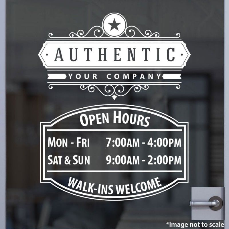 Open Hours With Logo Style Store Fronts Vinyl Windows And - Custom vinyl decals houston tx
