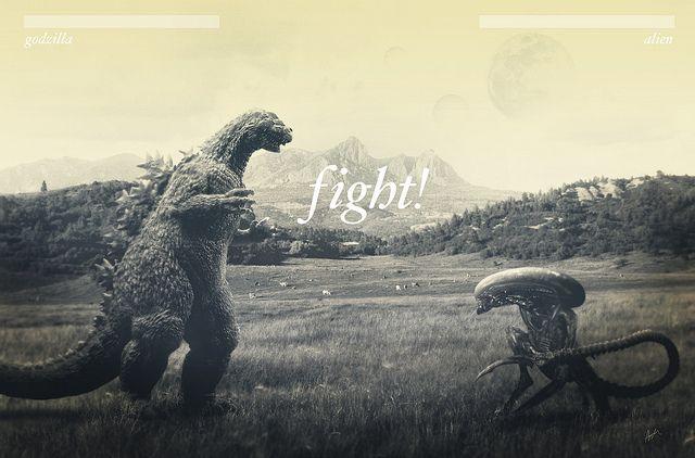 Godzilla vs Alien Mortal Kombat Mash Up by ash edwards, via Flickr