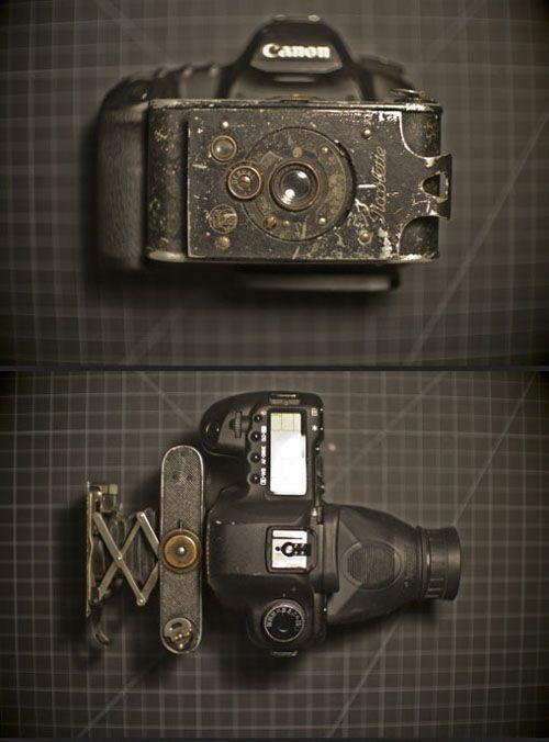 Camera Hack: Jason Bognacki put a 1919 folding camera to the front of his Canon 5D Mark II.