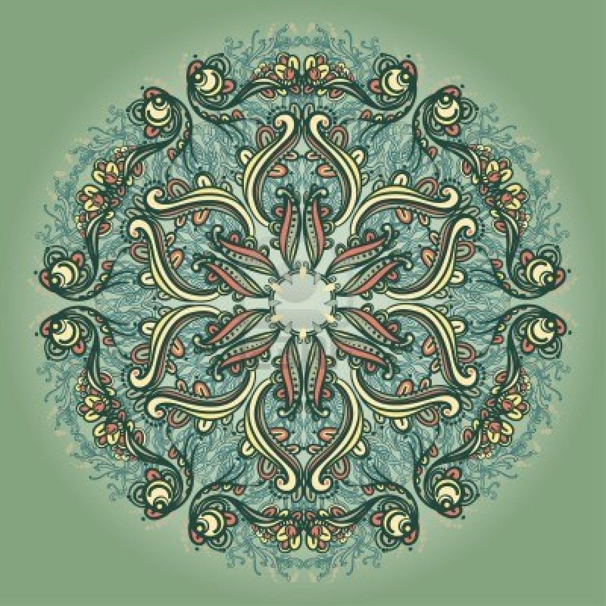 Ornamental round floral lace pattern kaleidoscopic floral