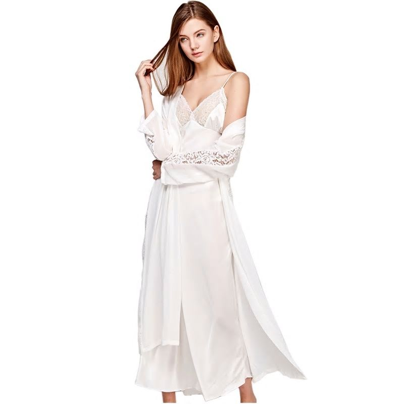 015cb83460 Sexy Sling Dress Sleeping Robe Two-Piece Faux Silk Sleepwear Women Elegant  Lady Lace Long-Sleeve Nightgowns Bathrobes T0008