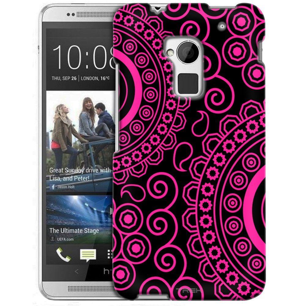 HTC One Max Paisley Circles Pink on Black Slim Case