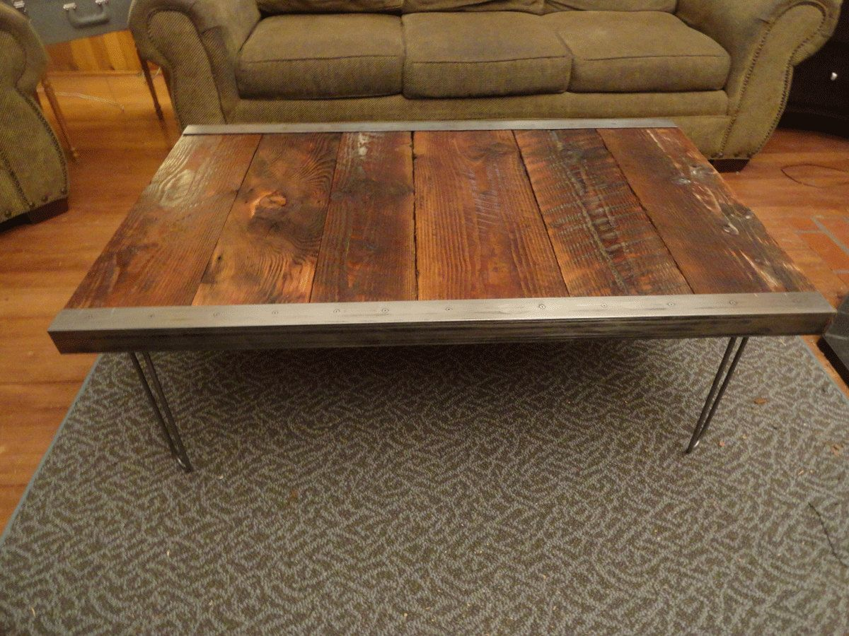 20x40 industrial coffee table with raw steel trim and. Black Bedroom Furniture Sets. Home Design Ideas