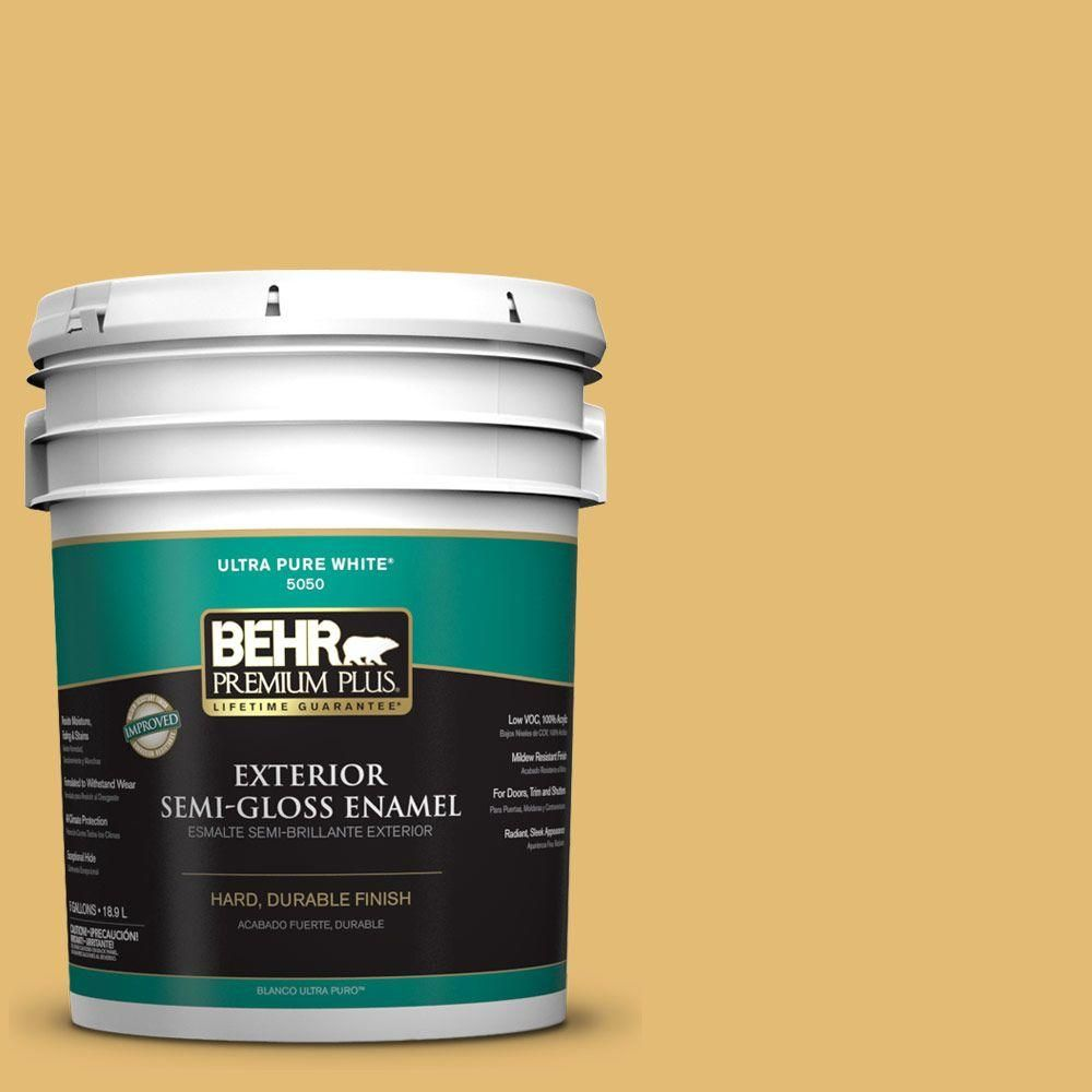 BEHR Premium Plus 5-gal. #pmd-96 Wild Wheat Semi-Gloss Enamel Exterior Paint