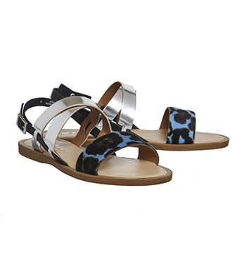 Office Bali Strappy Sandals Black Leather Silver Leather Blue Leopard Cow  Hair - Sandals
