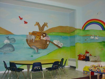 Church nursery mural ideas nursery murals and more for Church wall mural