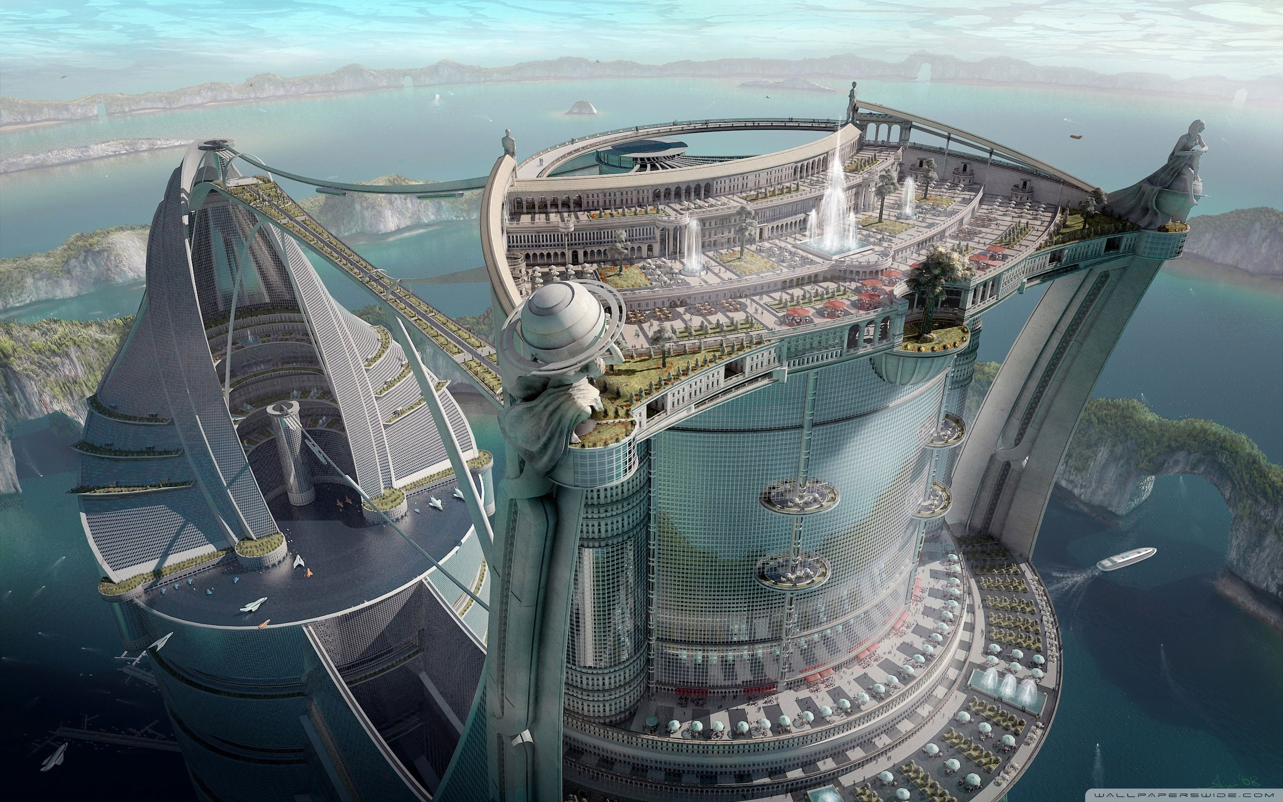 Hôtel géant avec espaces verts - Projet 3D - Auteur inconnu.