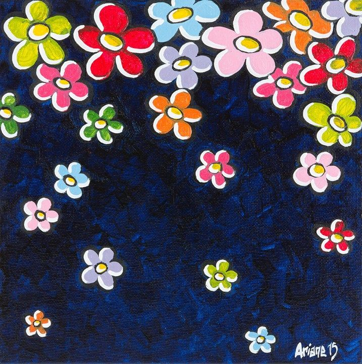 © Ariane Baffie 2015 - La pluie aux fleurs - huile sur carton entoilé - 20x20cm #contemporaryart #oil #painting #flower #color #colorful #arianebaffie #lifeisbeautiful