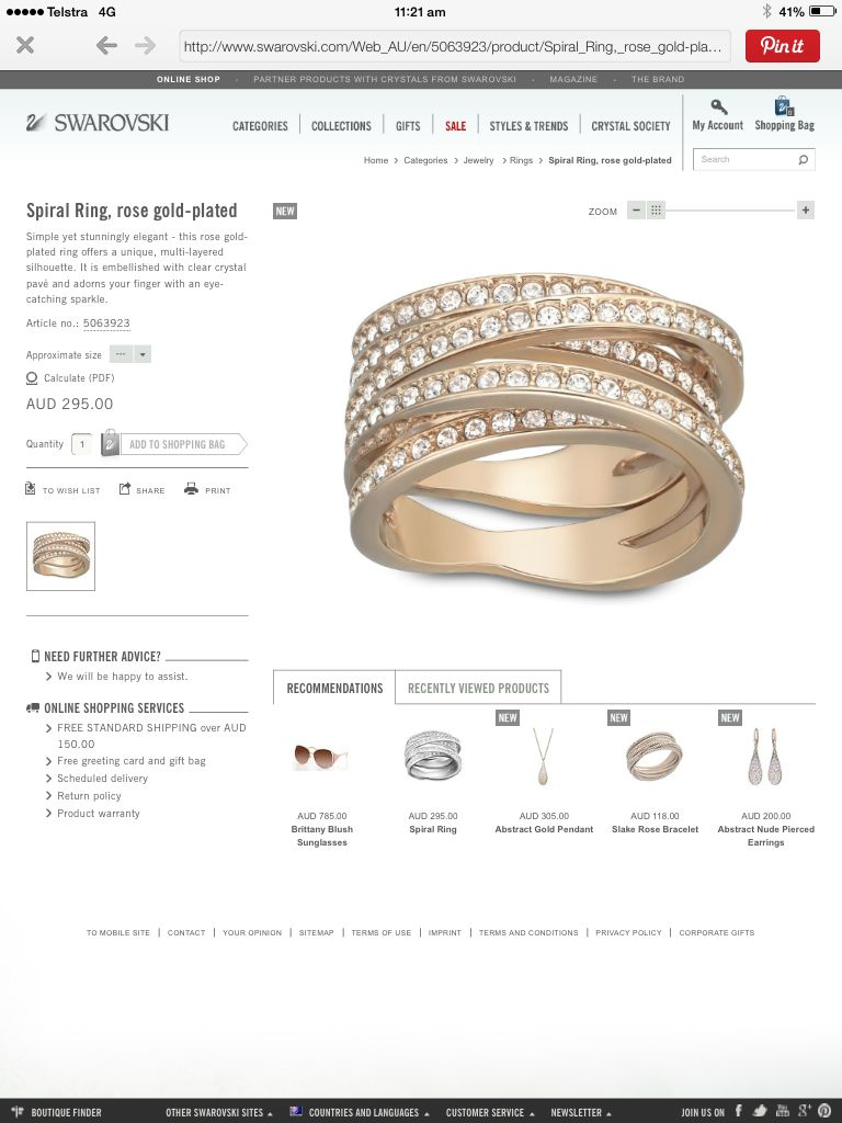 Swarovski spiral ring $295