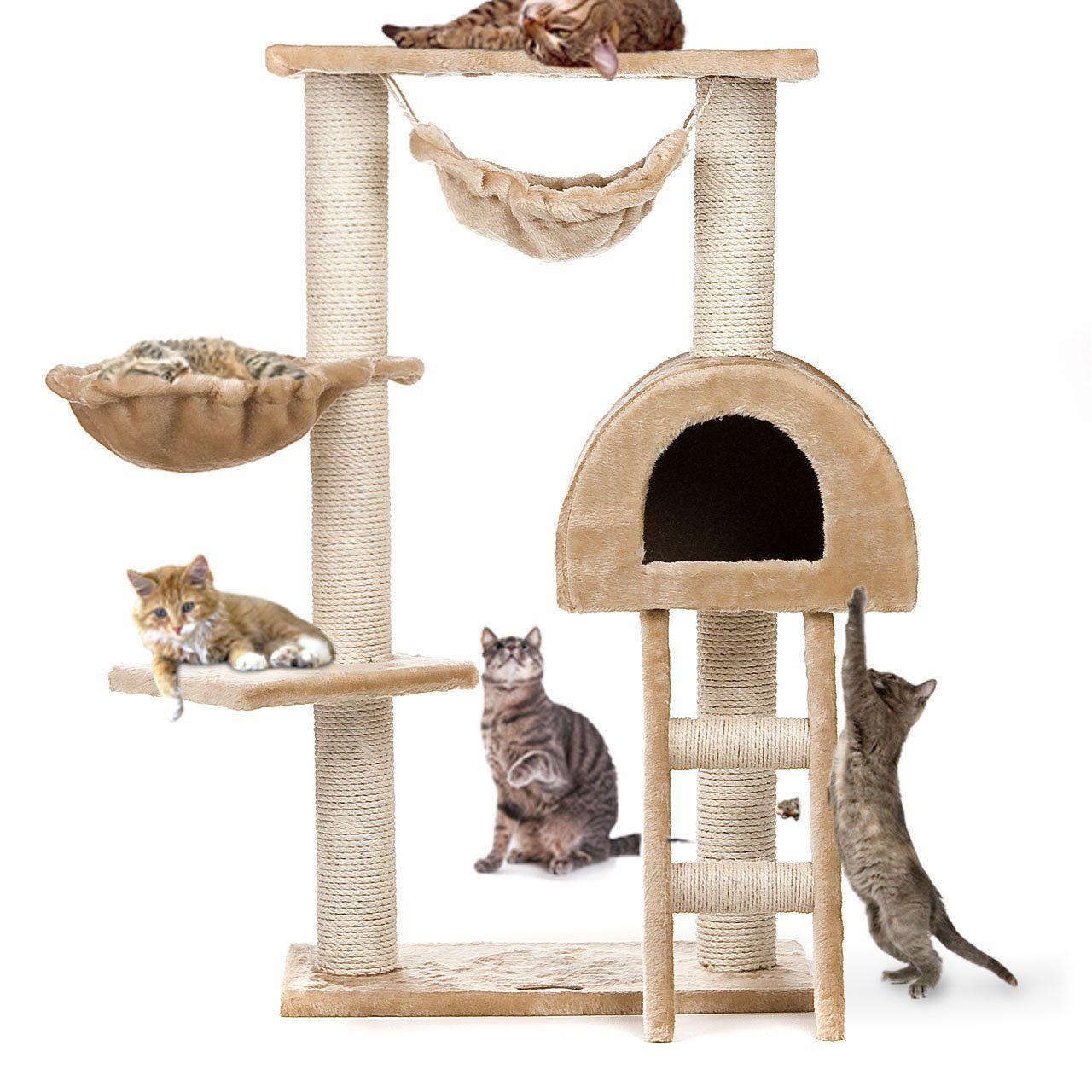 Happypet® CAT018 Kratzbaum Katzenbaum Mittelhoch 1,00 Hoch Beige: Amazon.de: