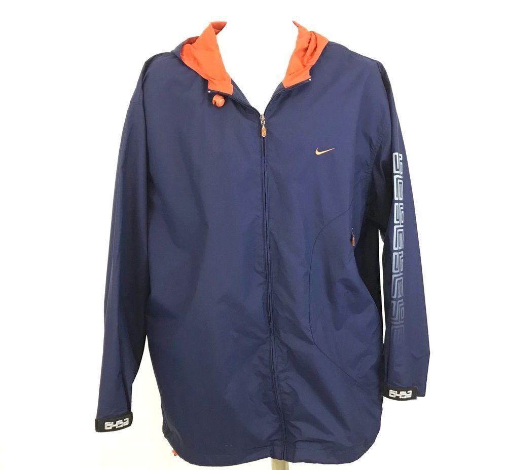 3fd964d1a Nike Mens Windbreaker Jacket With Hood Size L Nylon Blue Orange 6453 on  Cuffs #Nike #Windbreaker
