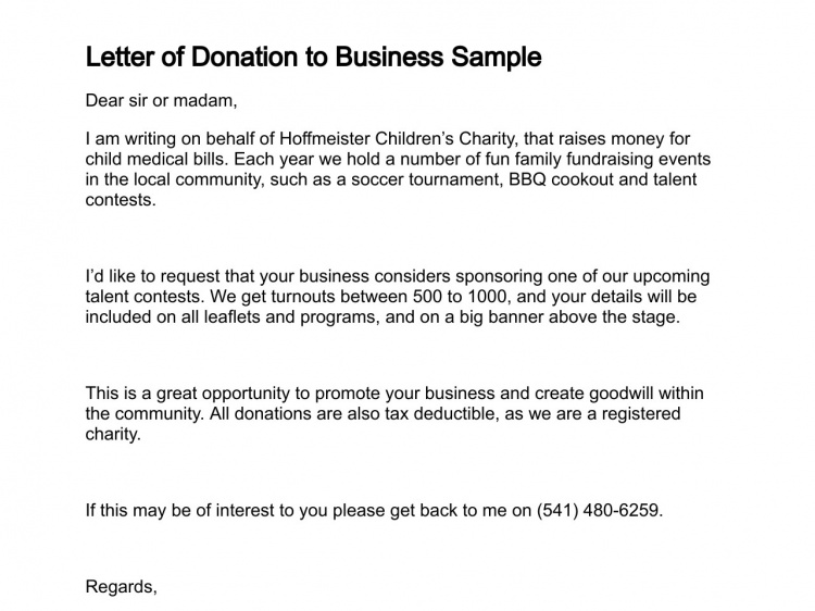 letter donation business sample asking for donations