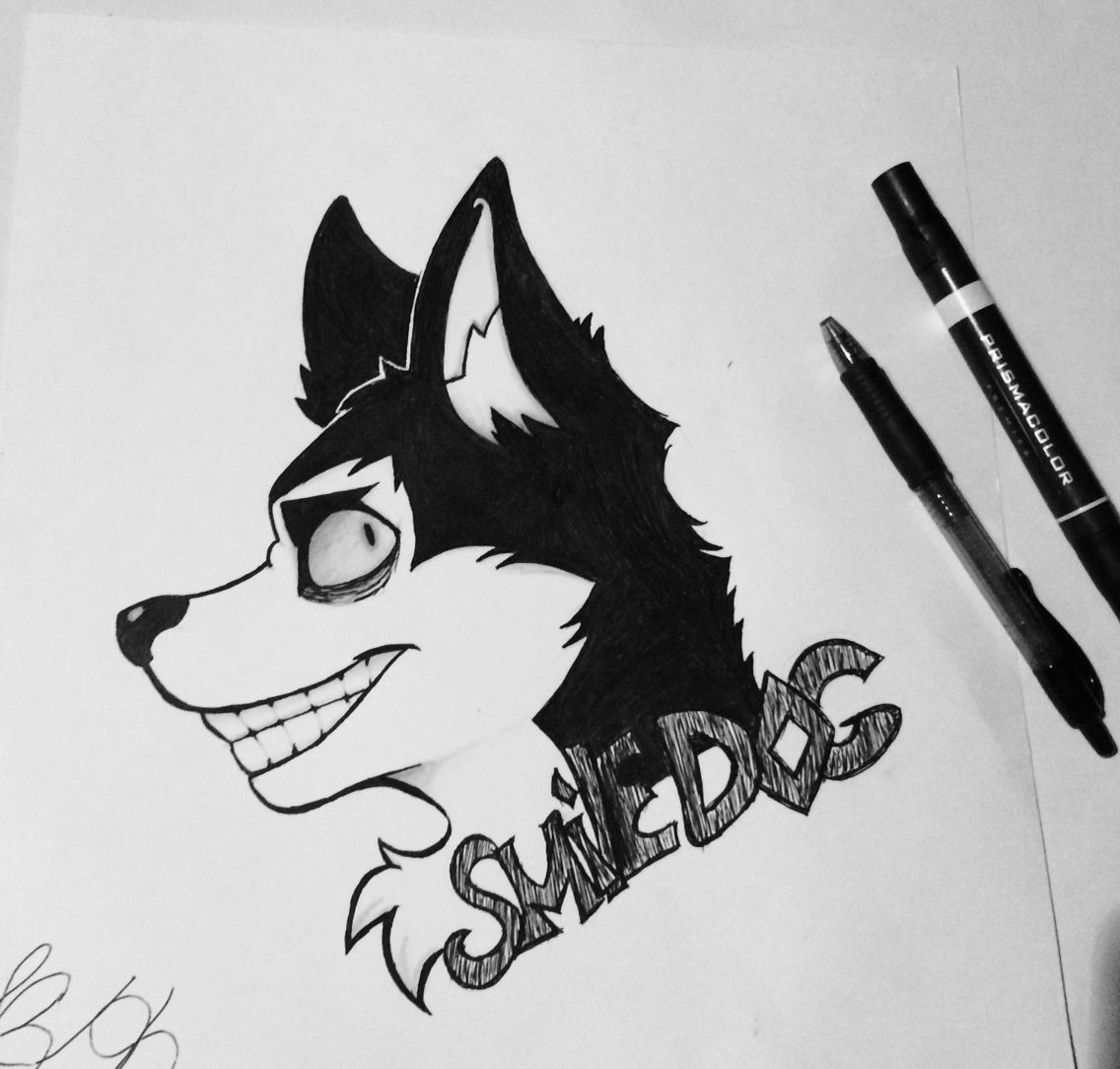 Smile Dog Creepypasta Ink Doodle Dog Drawing Dog Drawing