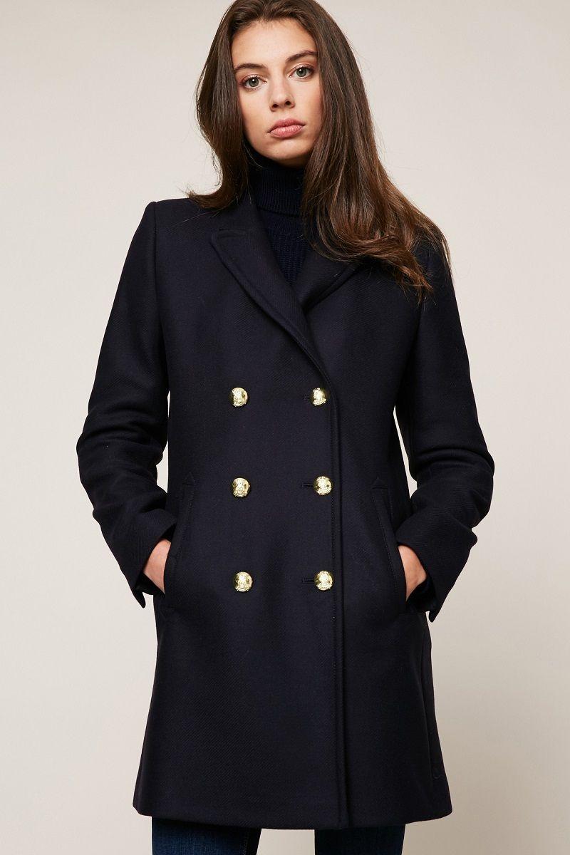 esprit manteau bleu marine boutons dor s pour femme mode. Black Bedroom Furniture Sets. Home Design Ideas