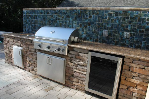 Exceptional Outdoor Kitchen Brandon Fl With Mosaic Ceramic Tile