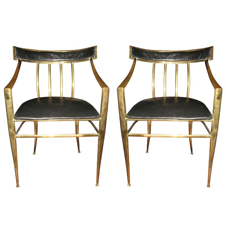 Midcentury Pair Of Bronze/Brass Hall/Arm Chairs