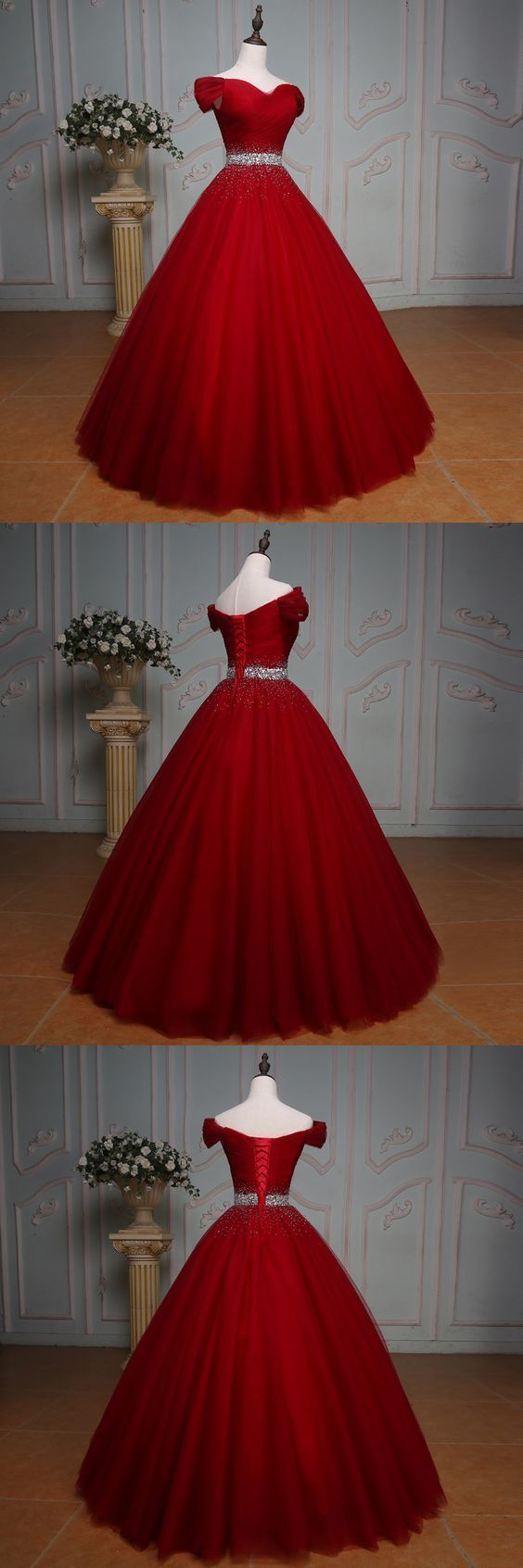 Handsome red prom dress off shoulder long ball gown party dress