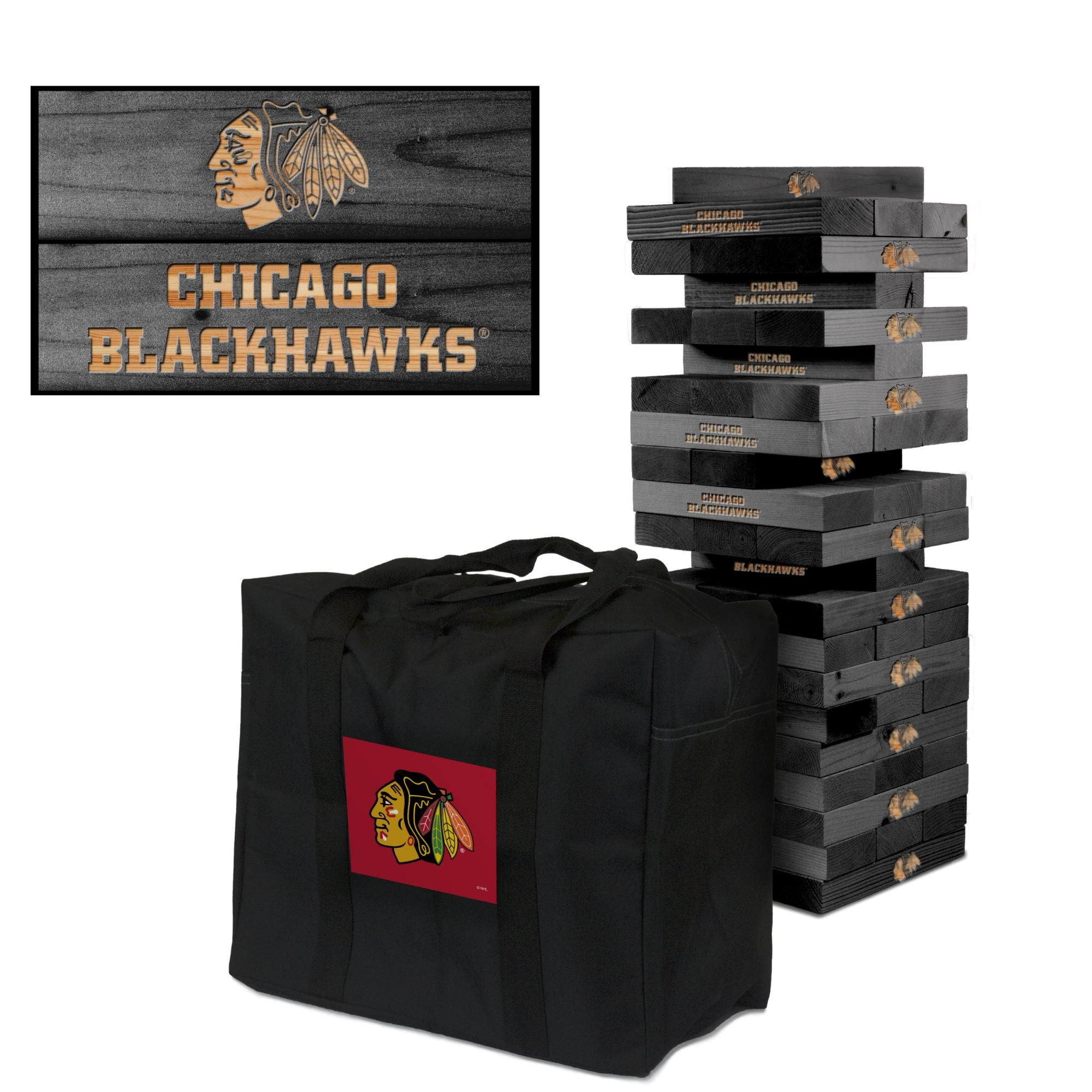 Chicago Blackhawks NHL Giant Onyx Stained Tumble Tower #victorytailgate