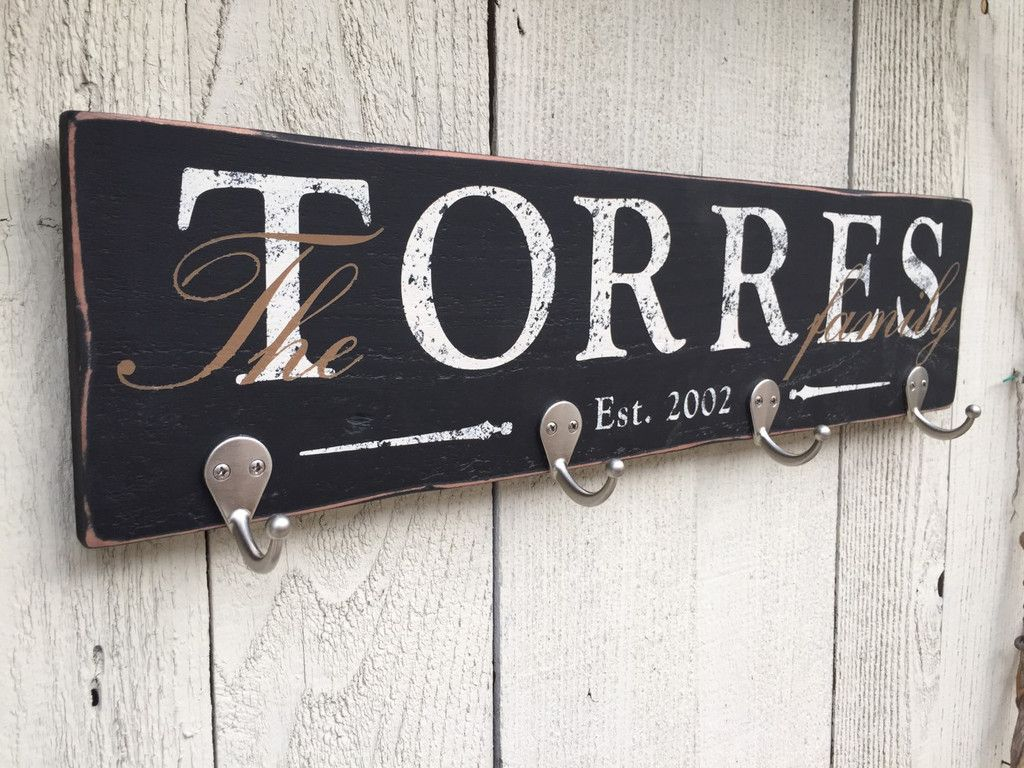 Personalized key holder with family last name and established date, on rustic wood ...