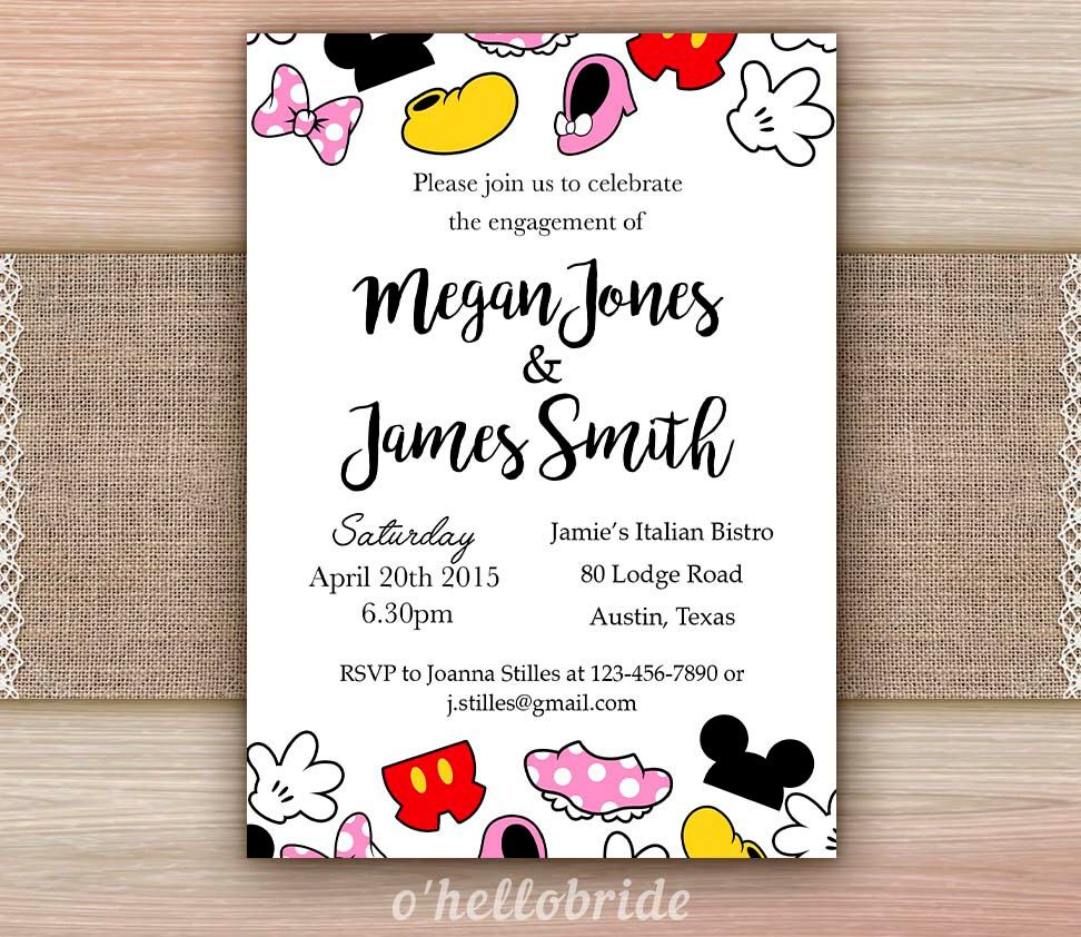 Disney Bridal Shower Invitation Printable - Disney Engagement Party ...