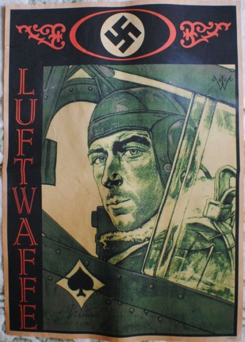 Luftwaffe poster showing Ace pilot Werner Molders.