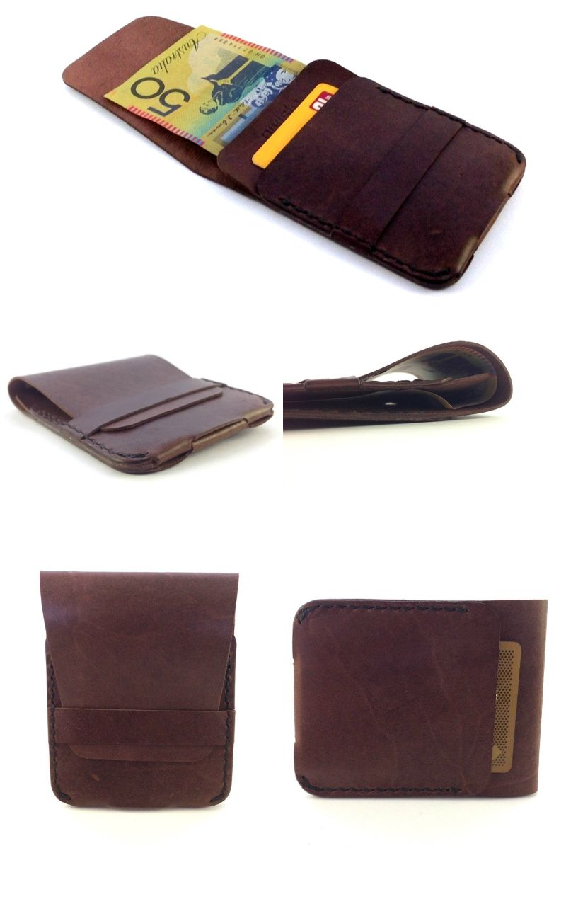 Tactical Modern Slim Genuine Leather Special Brown Wallets Minimalist Wallet