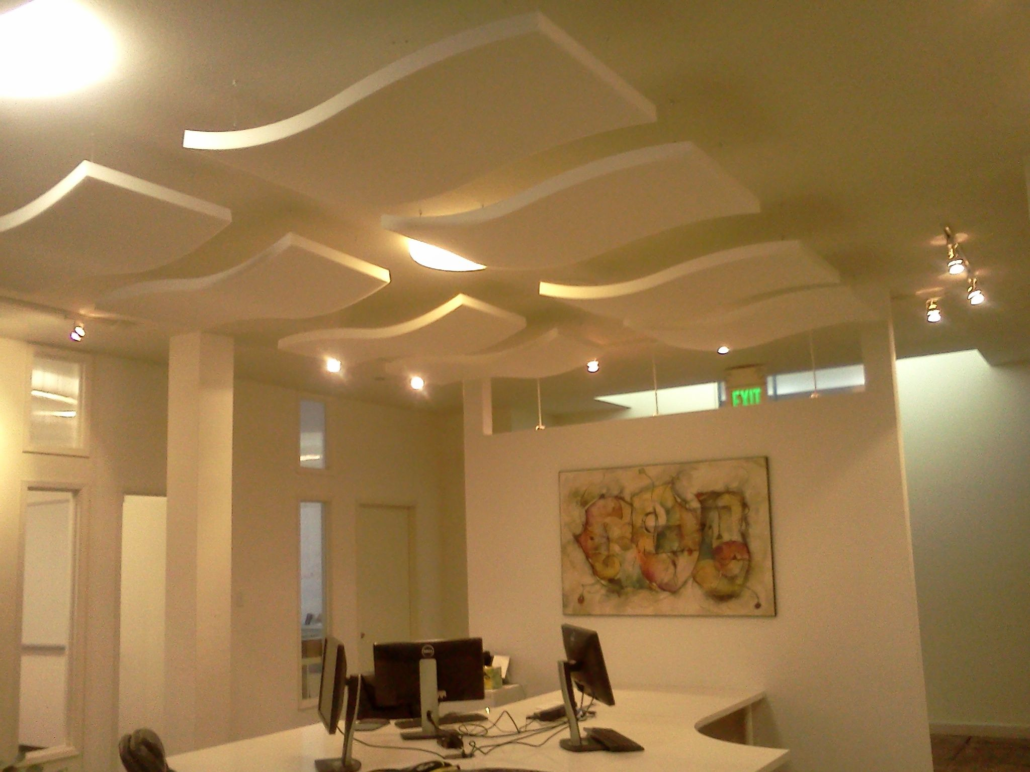 Acoustic panels hanging from ceiling | Office inspiration ...