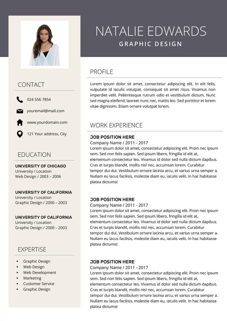 Creative Resume Template Cv Template For Ms Word And Pages Etsy Creative Resume Resume Template Professional Modern Resume Design