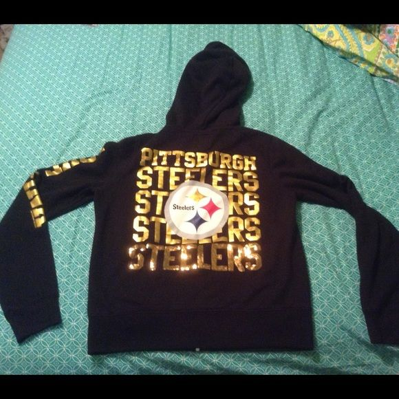 outlet store 3bc57 831e2 Victoria secret sequin steelers zip up hoodie Adorable bling ...