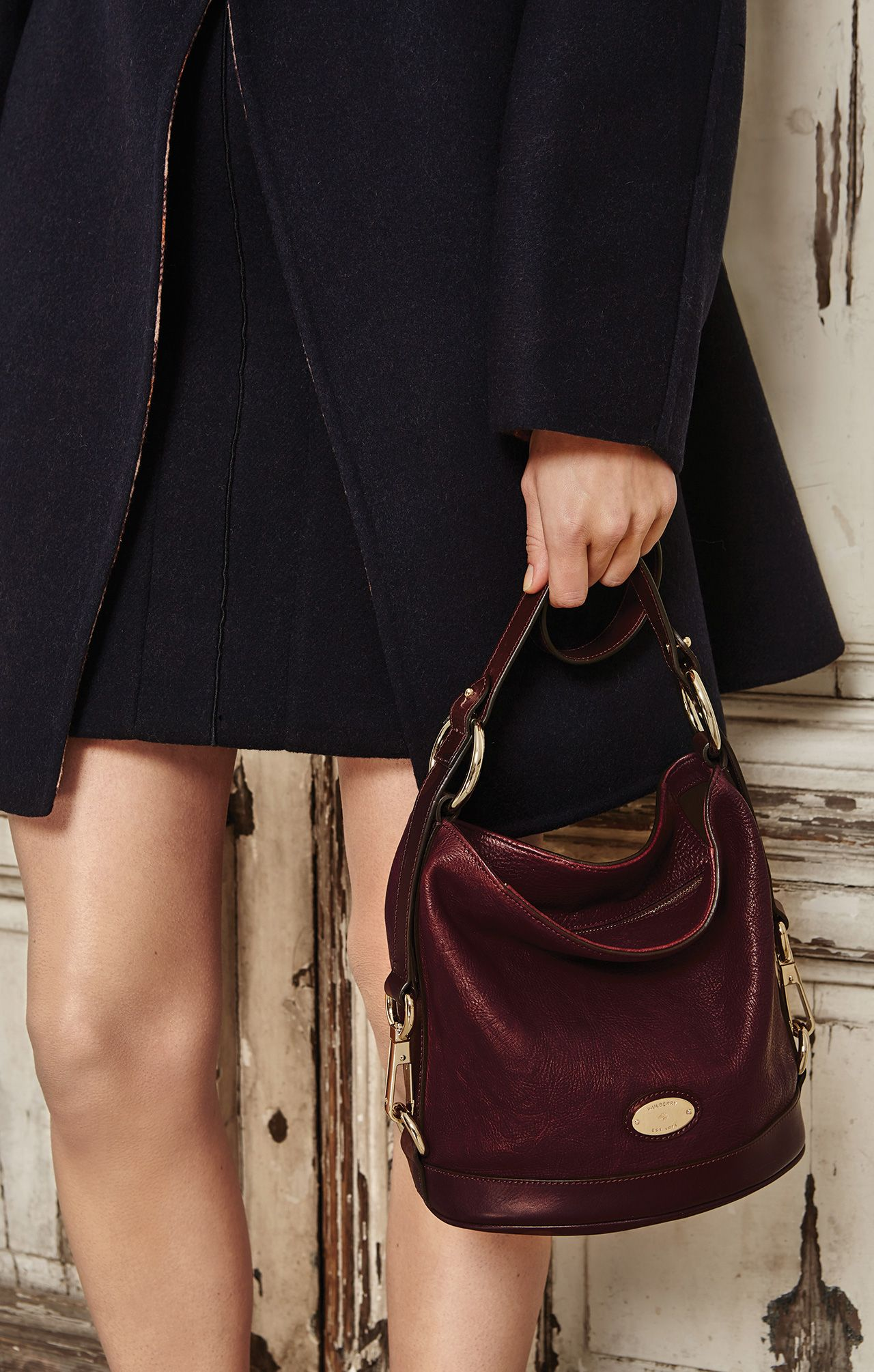 590b6e0fe1 Autumn Style, By Mulberry - Fitted Dixter Coat in Midnight Double Faced  Felt with the Small Jamie in Oxblood